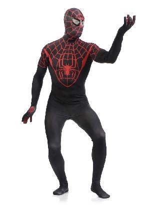 Red and Black Spiderman Super Hero Full Body Morph Costume Spandex Holiday Unisex Lycra Morph Zentai Suit