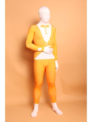 Yellow Bowknot Suit Full Body Morph Costume Halloween Spandex Holiday Unisex Cosplay Zentai Suit