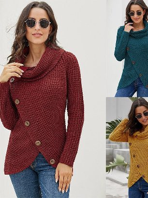 Supply Fall Winter Knitwear Turtleneck Buttoned Wrap Hem Asymmetrical Sweater