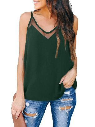 Green Sweet Camisole Solid Color V-neck Striped Fling Mesh Tank Top