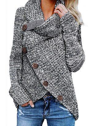 Gray Fall Winter Knitwear Turtleneck Buttoned Wrap Hem Asymmetrical Sweater