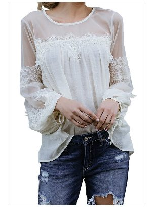 Supply White Fashion Lantern-Sleeve Solid Color Lace Patchwork Top