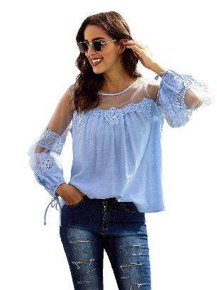 Light Blue Fashion Lantern-Sleeve Solid Color Lace Patchwork Top