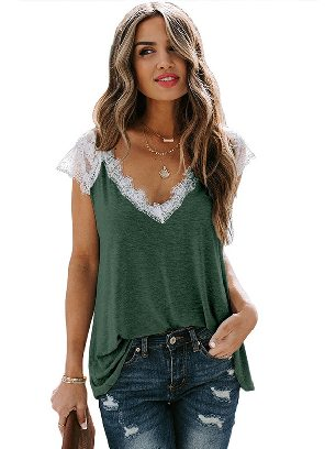Green Women Short-sleeved V-neck Lace Knit Tank Top