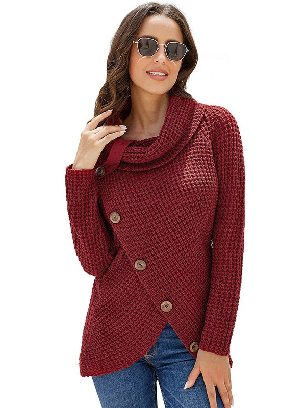 Red Fall Winter Knitwear Turtleneck Buttoned Wrap Hem Asymmetrical Sweater