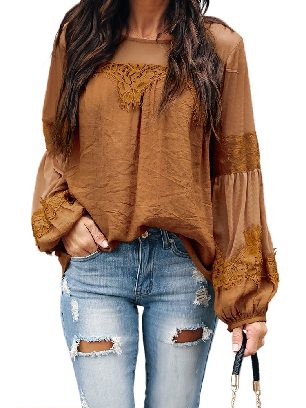 Yellow Fashion Lantern-Sleeve Solid Color Lace Patchwork Top
