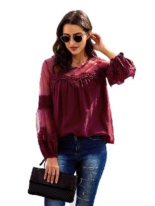 Red Fashion Lantern-Sleeve Solid Color Lace Patchwork Top