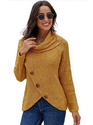 Yellow Fall Winter Knitwear Turtleneck Buttoned Wrap Hem Asymmetrical Sweater