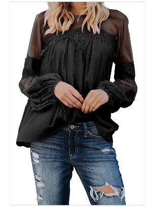 Black Fashion Lantern-Sleeve Solid Color Lace Patchwork Top