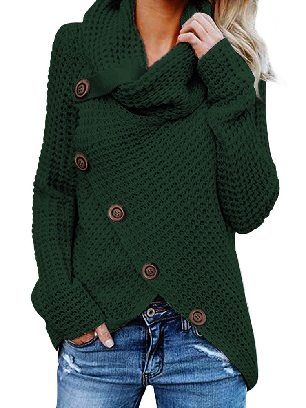 Green Fall Winter Knitwear Turtleneck Buttoned Wrap Hem Asymmetrical Sweater