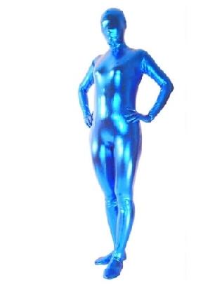 Top Perfect Top Blue Zentai Costume Shiny Metallic Unisex Zentai Suit Holiday Costume
