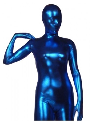 Blue Zentai Costume Shiny Metallic Zentai Suit