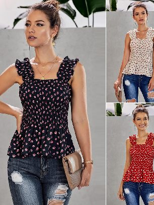 Supply Women Floral Printed Sling Pleated Smock Tank