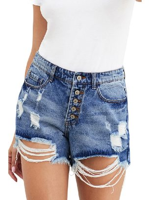 High-waisted Mama High Rise Distressed Frayed Edges Denim Shorts
