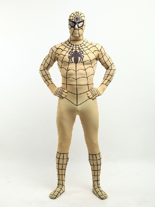 Adobe Brown Spiderman Super Hero Halloween Full Body Morph Costume Spandex Holiday Unisex Lycra Morph Zentai Suit