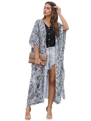 White Casual Loose Bohemian Style Tie Kimono