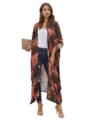 Orange Casual Loose Bohemian Style Tie Kimono