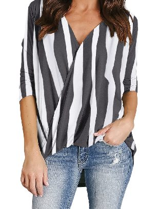 Supply Vertical Striped V-Neck Wrap Front Irregular Twist Hem Blouse