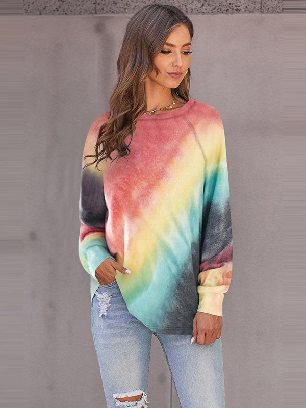 Supply Women Colorful Tie-dye Long Sleeve Top