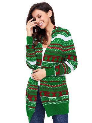 Green Winter Jacket Geometric Knit Loose Christmas Cardigan