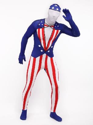 Usa National Flag Full Body Morph Costume Halloween Spandex Holiday Unisex Cosplay Zentai Suit