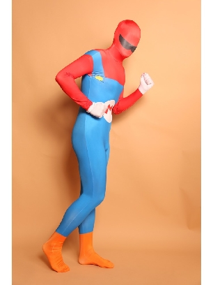 Red and Blue Big Beard Full Body Morph Costume Halloween Spandex Holiday Unisex Cosplay Zentai Suit