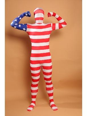 Usa National Flag Stripe Full Body Morph Costume Halloween Spandex Holiday Unisex Cosplay Zentai Suit