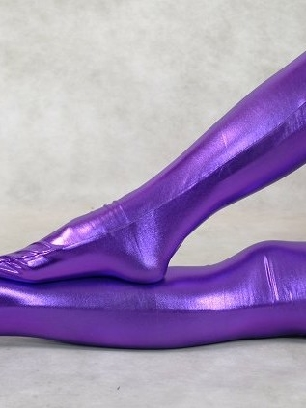 ZENTAI Purple Zentai Costume Shiny Metallic Stockings