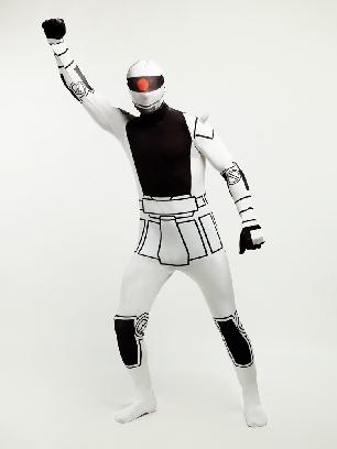 Black and White Robot Halloween Full Body Morph Costume Spandex Holiday Unisex Lycra Morph Zentai Suit