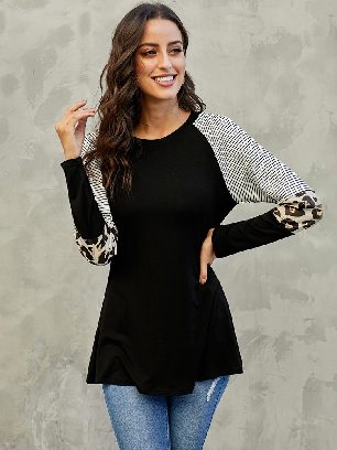 Supply Striped and Leopard Color Round Neck Block Sleeves Top