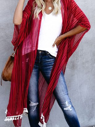 Supply Middle Length Vertical Striped Tassel Kimono