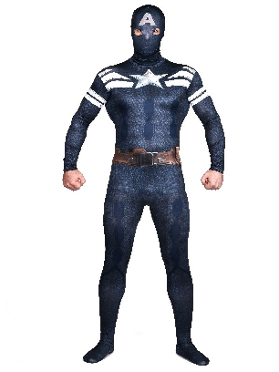 Deep Blue Captain America Full Body Morph Costume Halloween Spandex Holiday Unisex Cosplay Zentai Suit