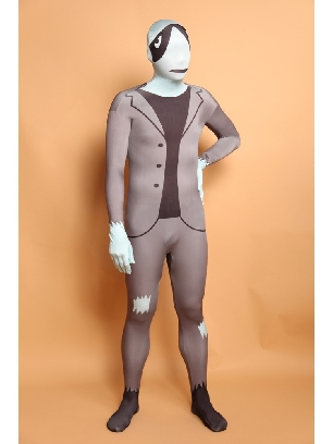 Silver Grey Full Body Morph Costume Halloween Spandex Holiday Unisex Cosplay Zentai Suit