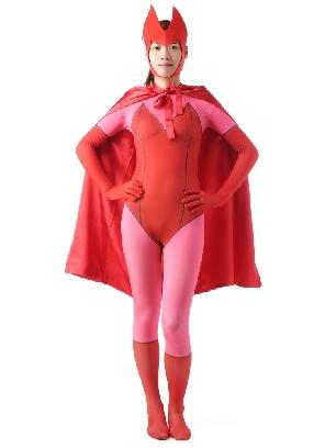 Red Halloween Super Hero Women Full Body Morph Costume Spandex Holiday Unisex Cosplay Zentai Suit