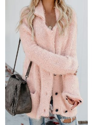 Supply Warm Knitted Fuzzy Double Breasted Pocketed Women Long-sleeved Cardigan