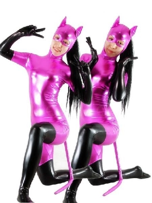 Purple Cat Woman Zentai Costume Shiny Metallic Catsuit with Black Gloves