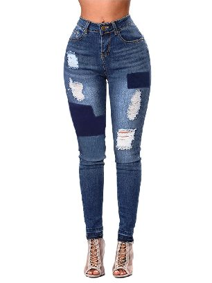 Distressed Patched Ripped Street Fashion Jeans