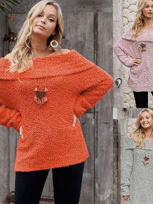 Supply Long-sleeved Sexy Off The Shoulder Comfy Sweater