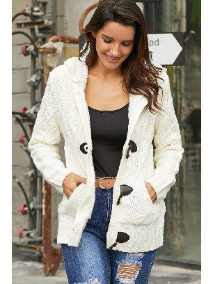 White Plush Casual Fur Hood Horn Button Sweater Cardigan