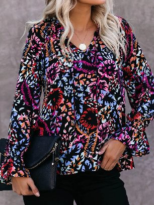Supply Street Fashion Rose Split Neck Printed Blouse