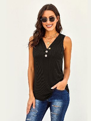 Supply Pure Color Sexy 3 Button Ribbed Fabric Tank Top