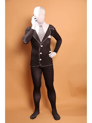 Men's Black and White Halloween Full Body Morph Costume Spandex Holiday Unisex Lycra Morph Zentai Suit