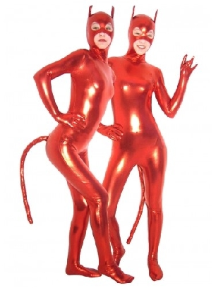 Red Devil PVC Catsuit Sexy Costume with Mask and Tail