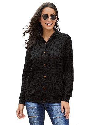 Black Long-sleeved Open Front Pocket Button Down Fall Winter Plaid Knit Cardigan Coat