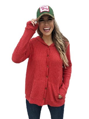 Red Long-sleeved Open Front Pocket Button Down Fall Winter Plaid Knit Cardigan Coat