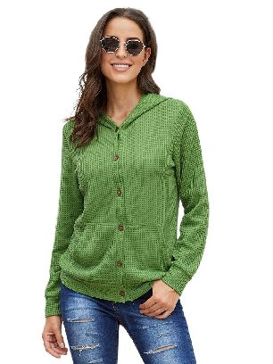 Green Long-sleeved Open Front Pocket Button Down Fall Winter Plaid Knit Cardigan Coat