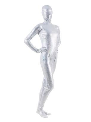 Quality White Zentai Costume Shiny Metallic Unisex Breathable Zentai