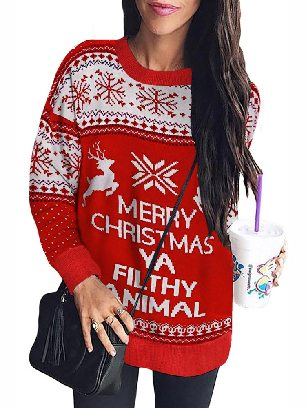 Merry Christmas Ya Filthy Animal Snowflake Reindeer Long Sleeve Loose Sweatshirt