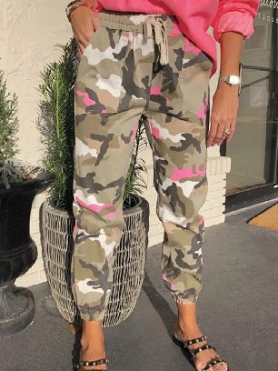 Camouflage Elastic Waist Ancle-length Neon Camo Joggers