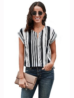Supply Multicolor V Neck Stripes Roll Up Short Sleeve Zip Summer Casual Blouse